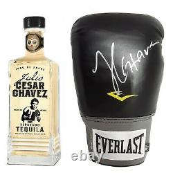 Julio Cesar Chavez Signed Boxing Glove w COA in Display Case w Tequila Decanter