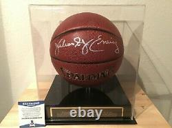 Julius Erving Dr. J Signed Basketball with Display Case & Nameplate Beckett COA