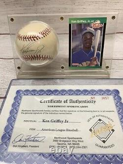 KEN GRIFFEY JR AUTOGRAPHED BASEBALL with COA & 1989 Rookie Card in Display Case