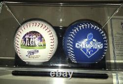 Kansas City Royals 2015 2 Baseball Set w COA & Display Case Limited Edition