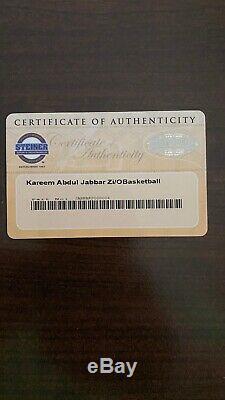 Kareem Abdul jabbar Autographed Basketball withCoa, Display Case and Name Plate
