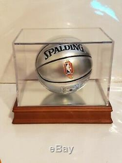 Larry Bird Signed NBA Silver Mini Basketball With Display Case Bird Holo & PSA COA