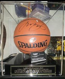 Lebron James autographed NBA Basketball with COA In Display Case