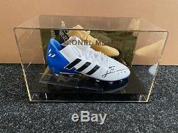 Lionel Messi Signed Football Boot Barcelona Argentina Display Case COA