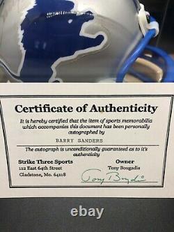 Lions Barry Sanders Signed Mini Helmet with Display Case & COA