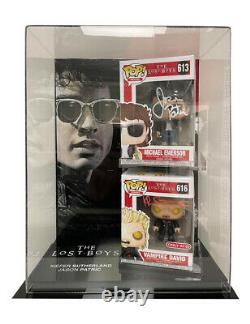 Lost Boys Funko Pops In Display Case Signed by Sutherland & Patric 100% With COA