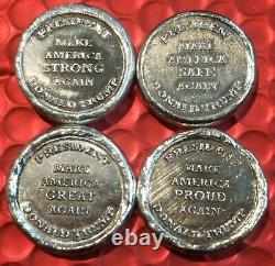 Lot of (4)1oz. Silver rounds. 999 pure. MK BarZ Trump with display case and COA