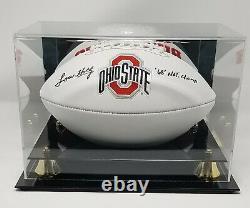 Lou Holtz Signed Ohio State Logo Football Insc Fanatics COA 516 Display Case