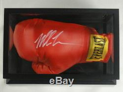 MIKE TYSON SIGNED FULL-SIZE RED EVERLAST BOXING GLOVE With DISPLAY CASE JSA COA
