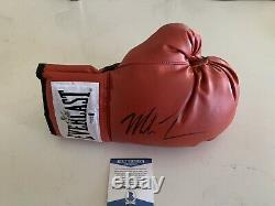 MIKE TYSON SIGNED RED EVERLAST BOXING GLOVE With DISPLAY CASE BECKETT COA Q02425