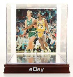 Magic Johnson & Larry Bird Signed NBA Logo Basketball with Display Case PSA COA
