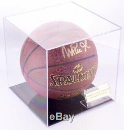 Magic Johnson Signed Basketball with Display Case and Nameplate (JSA COA)
