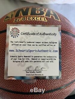 Magic Johnson Signed Basketball with Schwartz COA Display Case NBA Spalding Auto