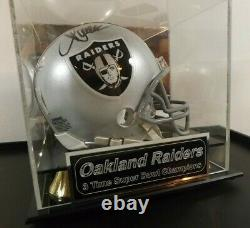 Marcus Allen Signed Mini Helmet With Nice Display Case Oakland Raiders Leaf Coa