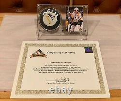 Mario Lemieux Hand-Signed Official Game Puck With COA Display Case Card