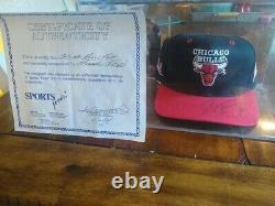 Michael Jordan Autographed/Signed Bulls Hat with COA and display case