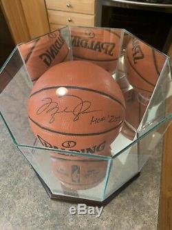 Michael Jordan Signed Basketball with COA and HOF etched glass Display Case