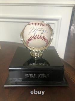 Michael Jordan autographed Baseball in display case. With COA