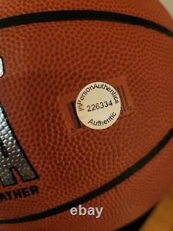 Michael Jordan autographed signed Spalding NBA basketball COA Bulls display case