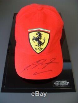 Michael Schumacher Rare Genuine Hand Signed Ferrari Cap Display Case Coa F1 Gp
