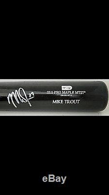 Mike Trout Autographed Ball And Bat with MLB COA In Black Wooden Display Case