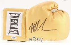 Mike Tyson Signed Everlast Gold Boxing Glove With Display Case (PSA COA)