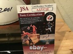 Moses Malone 76ers Signed Mini-Basketball with Display Case & NameplateJSA COA