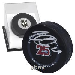 Nathan MacKinnon Autographed 25th Anniversary Puck with Display Case LSM COA