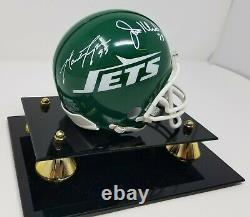 New York Jets Sack Exchange Multi Signed Mini Helmet PSA COA 023 Display Case