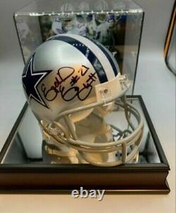 Nice! Ezekiel Elliot Signed Cowboy Mini Helmet W Beckett Coa And Display Case
