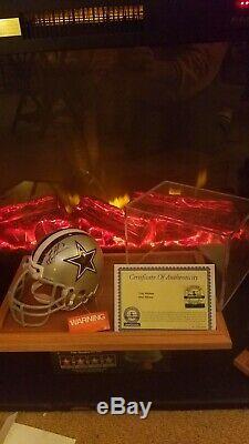 Nice! Troy Aikman Signed Cowboys Mini Helmet W Coa & Display Case