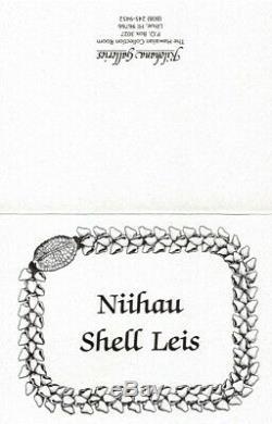 Niihau Shell Lei, Kipona Pikake Single Tie, 19 inches, COA, custom display case