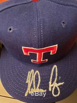 Nolan Ryan Texas Rangers Autographed Signed Hat & Baseball In Display Case W Coa