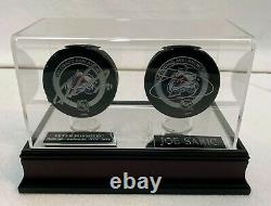 Peter Forsberg & Joe Sakic Autographed Game Pucks with Avs Display Case LSM COA