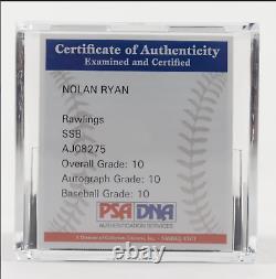 RARE Nolan Ryan Signed Astros OML Baseball With Display Case (PSA COA Graded 10)