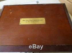 Rare, Franklin Mint Civil War Checkers set and display case and COA