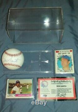 Ron Santo Autographed Ball & Display Case & 70,72,74 Topps Cards & Coa (romlb)