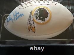 Signed Charlie Taylor Redskins HOF 1984 Football & Display Case COA