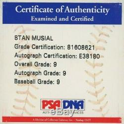 Stan Musial Signed OML Baseball with Display Case (PSA COA Graded 9)