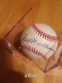 TED WILLIAMS SIGNED AUTOGRAPHED MLB BASEBALL With COA and Display Case