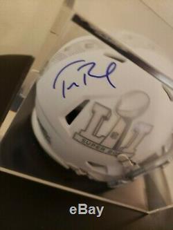 TOM BRADY PATRIOTS AUTOGRAPHED FOOTBALL MINI HELMET SIGNED & DISPLAY CASE with COA