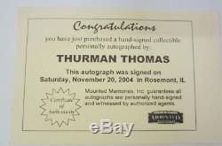 Thurman Thomas Buffalo Bills signed mini football helmet with display case COA