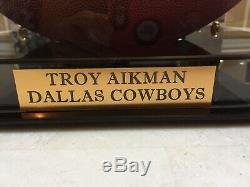 Troy Aikman Dallas Cowboys Signed NFL Football With Official Display Case COA