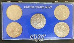 United States Mint 5 Morgan 90% Silver Dollar Set in Display Case with COA