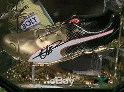 Usain Bolt Signed Puma Running Shoe In A Display Case Bolt Jamaica COA