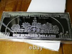 $ 100 Dollar Bill 4 Oz Oz Silver Bar 1/4 Livre Proof Coa & Vitrine 2003