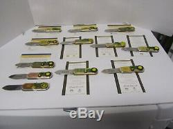12 Diff Franklin Mint John Deere Collector Couteaux Avec 2 Vitrines 10 Coa