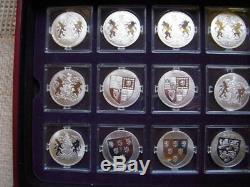 12 Rois Et Reines De Grande-bretagne Preuve D'argent Dans Un Étui D'affichage Avec Coa