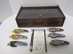 18 Couteaux Franklin Mint Harley Davidson Différents Avec 3 Présentoirs 16 Coa