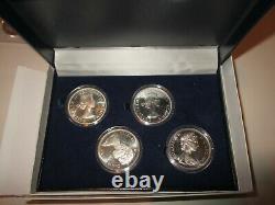 1958-64-66-1967 Canada Gem Silver Dollar- Four Coin Set With Coa & Display Case
